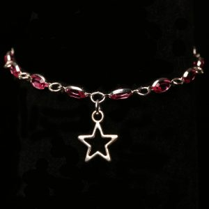 #284 Pink Rhinestone Bracelet with Star