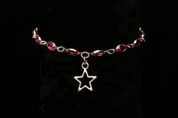 #284 Pink Rhinestone Bracelet with Star