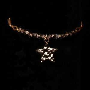 #272 Bronze bead Bracelet With Gold Star