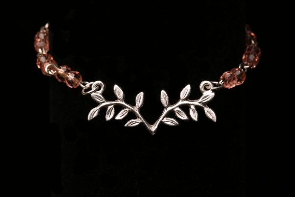 #358 Pink Bead Bracelet With Nunn Design Leaf