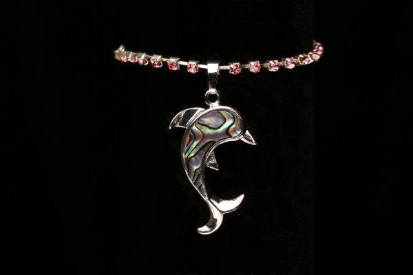 #362 Pink Rhinestone Bracelet With Dolphin