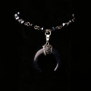 #365c Goldstone Crescent Moon Bracelet