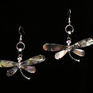 #269 Abalone Shell Dragonfly Earrings