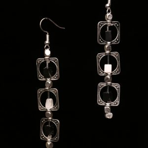 #291 Black And White Agate Dangle Earrings