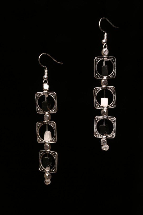 #291 Black And White Agate Dangle Earrings