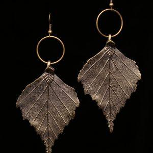 #313 Large Bronze Leaf Dangle Earrings