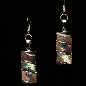 #351 Abalone Shell Rectangular Block Earrings