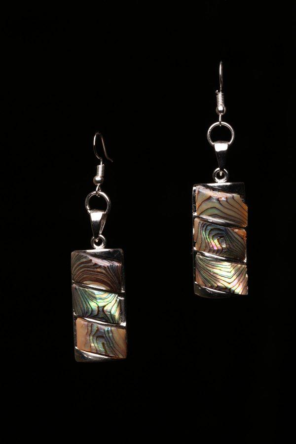 #351 Abalone Shell Rectangular Block Earrings