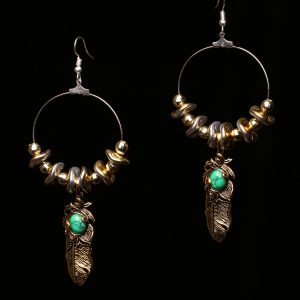 #355 Hoop Earrings With Goldtone Feather