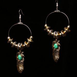 #355 Hoop Earrings With Goldtone Feather