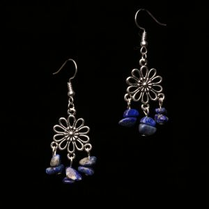 #368 Lapis Lazuli Daisy Dangle Earrings
