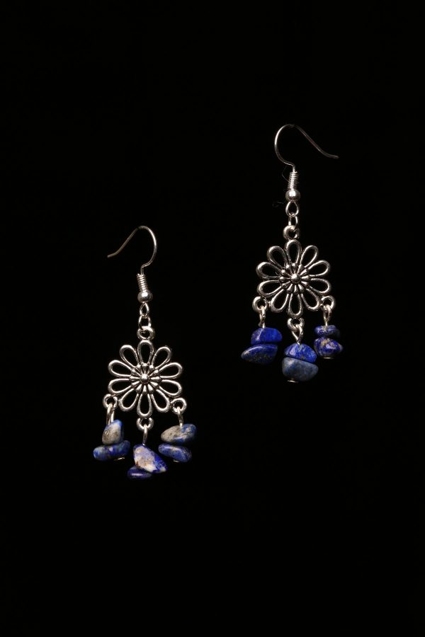 #368 Lapis Lazuli Daisy Dangle Earrings