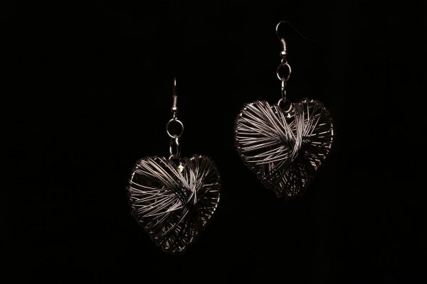 #314 Gunmetal Wirework Heart Earrings