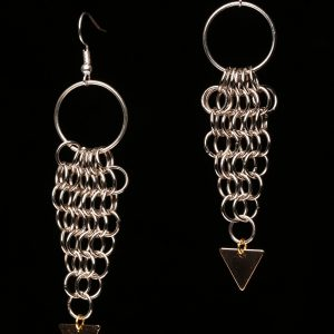 #370 Silver-tone Chain Maille Dangle Earrings