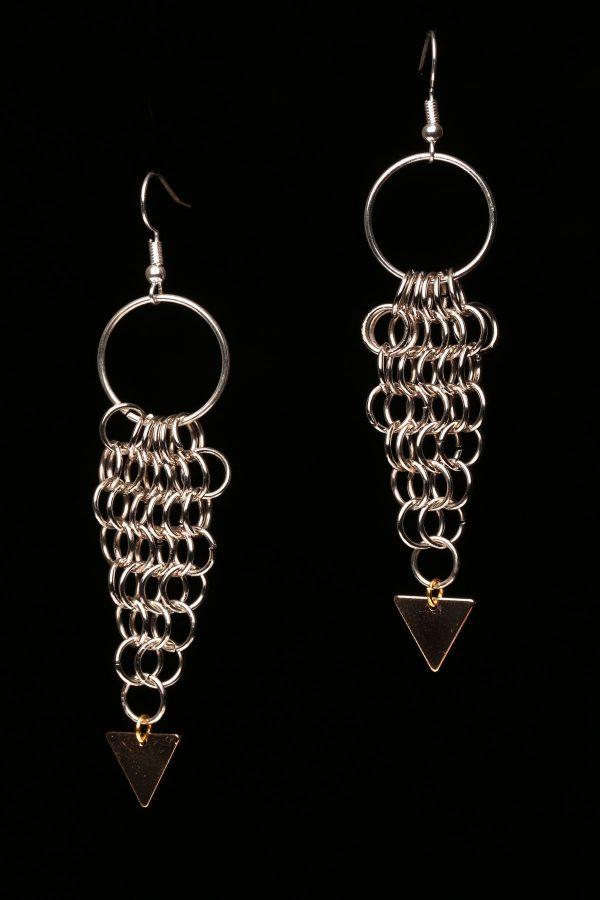 #370 Silver-tone Chain Maille Dangle Earrings