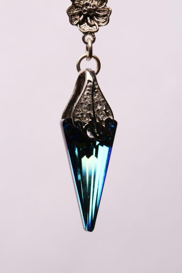 #288 Bermuda Blue Crystal Spike Dangle Earrings