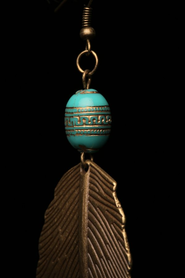 #349 Large Bronze Leaf Earrings With Grecian Blue Bead