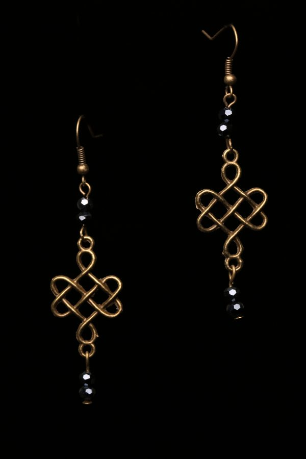 #279  Bronze Celtic Knot With Glass Beads Earrings