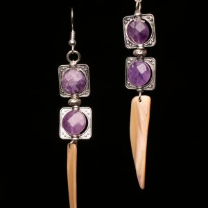 #303 The Amethyst and Mother Of Pearl Dangle Earrings