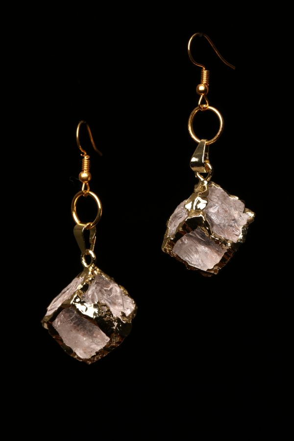 #375 The Gold Clear Quartz Crystal Cubed Earrings