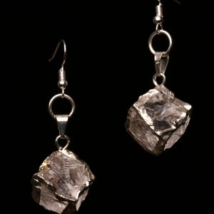 #316 The Silver Clear Quartz Crystal Cubed Earrings