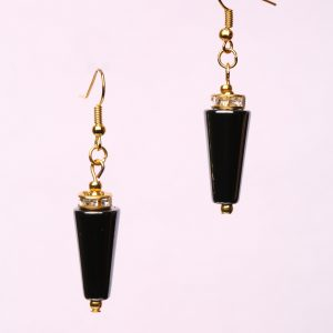 #307 The Haematite And Brass Tone Dangle Earrings