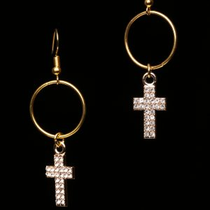#315 The Cubic Zirconia Cross Pendant On Gold Plated Ring