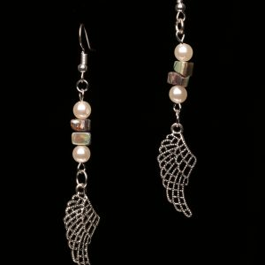 #326 Angel Wing and Abalone Shell Earrings