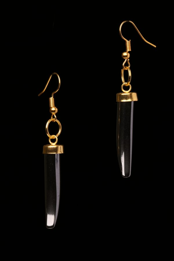 #304 The Italian Horn Grey And Gold Dangle Earrings
