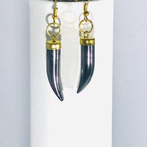 The Italian Horn Haematite Earrings