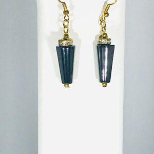The Haematite And Brass Tone Dangle Earrings
