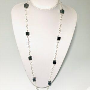 Long Line Haematite Sweater Necklace