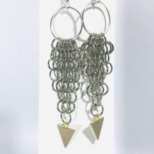 Silver-tone Chain Maille Dangle Earrings