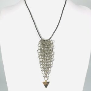 The Silver Alloy Chain Maille Necklace on Faux Leather