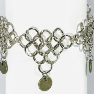 Silver Alloy Chain Maille Bracelet With Toggle Clasp