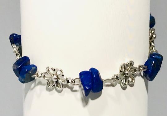 Lapis Lazuli And Daisy Chain Bracelet