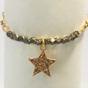 Bronze Bead Bracelet With Gold Star