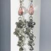 Peach Glass Bead And Flower Dangle Earrings