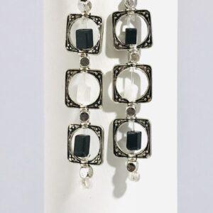 Black And White Agate Dangle Earrings