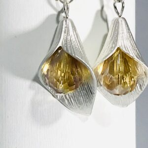 Silver Plated Tulip With Gold Bead Earrings