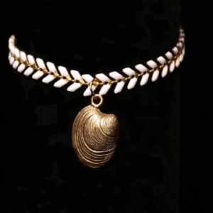 White Chevron Chain Bracelet With Antique Gold Shell