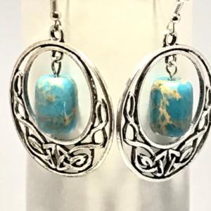 Regalite And Celtic Knot Hoop Earrings