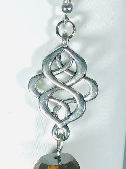 Celtic Eternity Knot With Tigers Eye Earrings