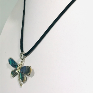 Abalone Shell Dragonfly Necklace On Faux Suede Cord