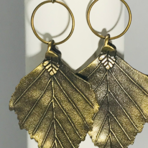 Large Bronze Leaf Dangle Earrings