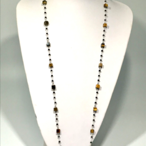 Tigers Eye And Black Glass Rosary Chain