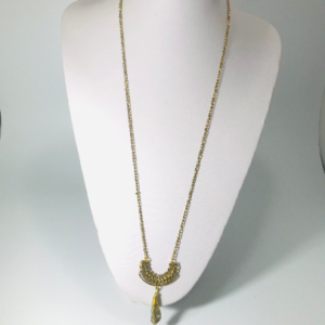 The Sweater Necklace With Electroplated Agate In Gold