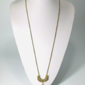 The Sweater Necklace With Electroplated Agate In Bronze