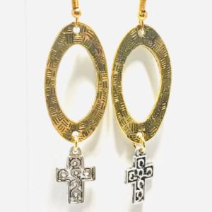 Hoop And Celtic Cross Dangle Earrings