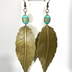 Large Bronze Leaf Earrings With Grecian Blue Bead